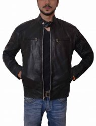 mens slimfit black leather jacket
