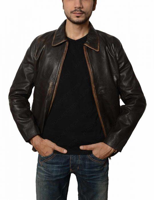 brown vintage distressed jacket