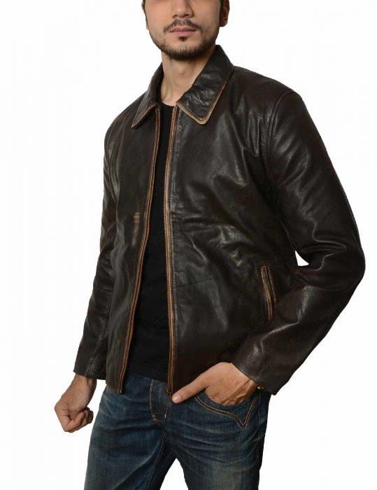 brown vintage leather jacket