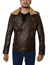 harry style brown leather fur jacket