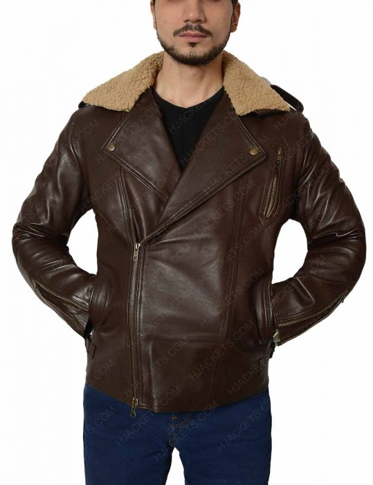 harry styles brown leather fur collar jacket