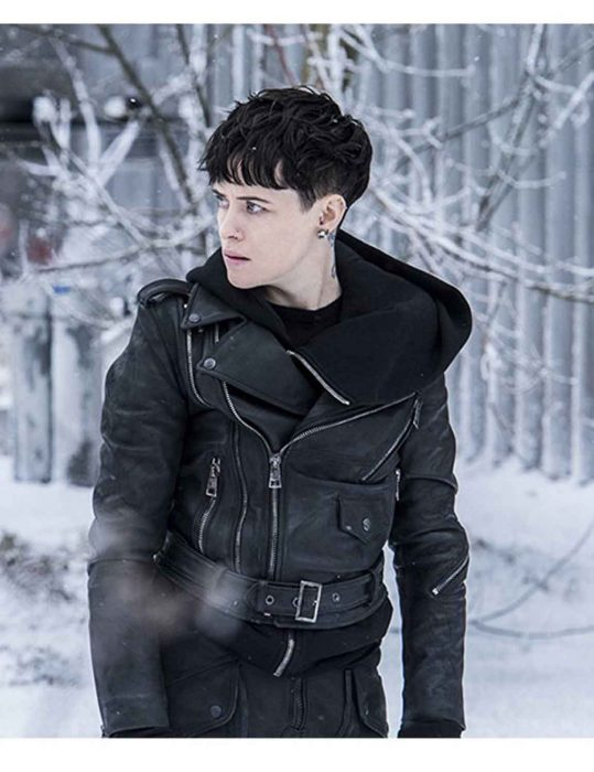 the girl in the spider's web biker jacket