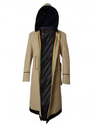 jodie whittaker white hooded rainbow coat
