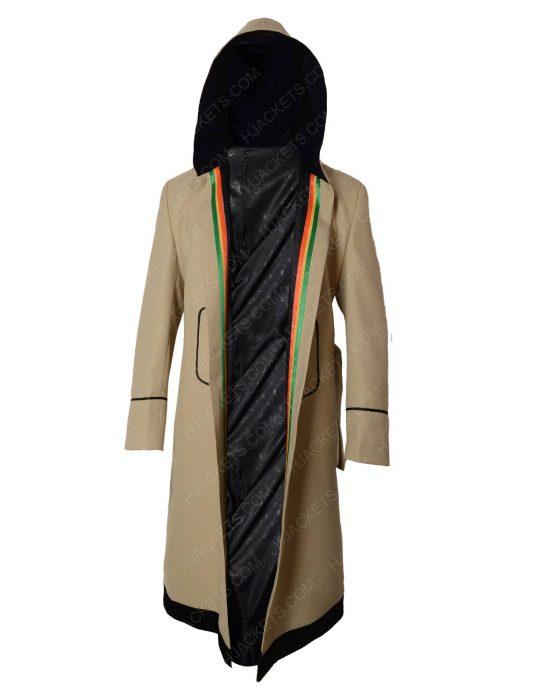 jodie whittaker white hooded rainbow coat
