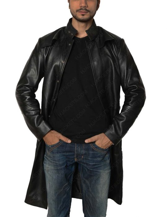 keanu reeves trench leather coat