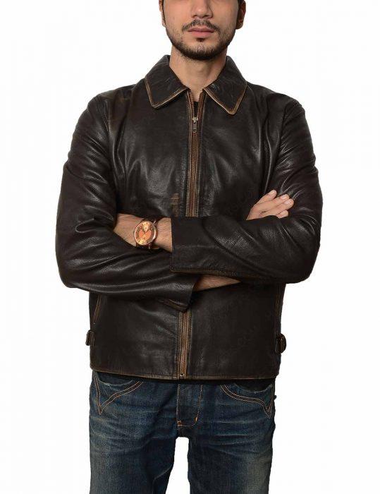 mens brown distressed vintage jacket