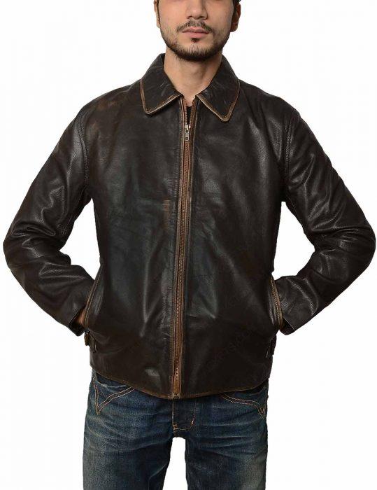 mens brown distressed vintage leather jacket