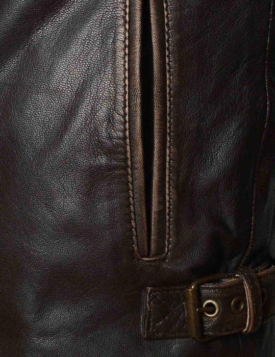 mens brown vintage distressed leather jacket