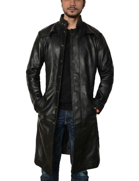 neo matrix trench leather coat