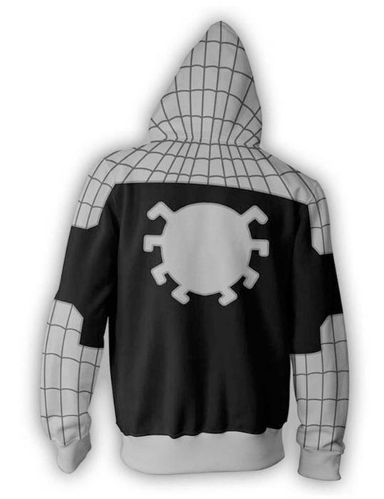 spiderman grey zip up cotton hoodie