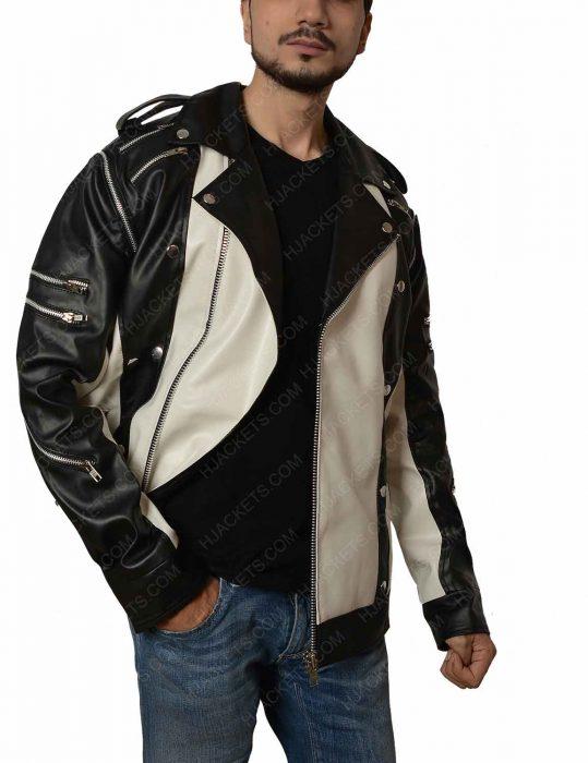 michael jackson black & white leather jacket