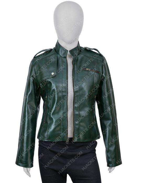 Green Faux Leather Moto Woman Jacket