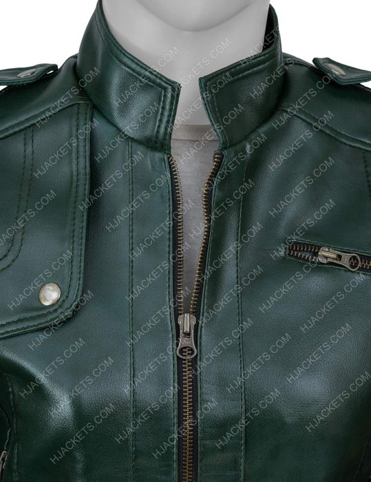 Green Faux Leather Woman Jacket