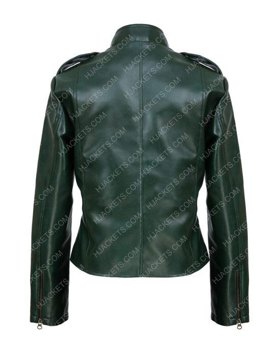Green Faux Moto Jacket