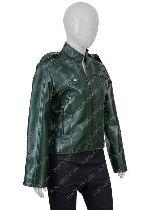 Green Leather Moto Woman Jacket
