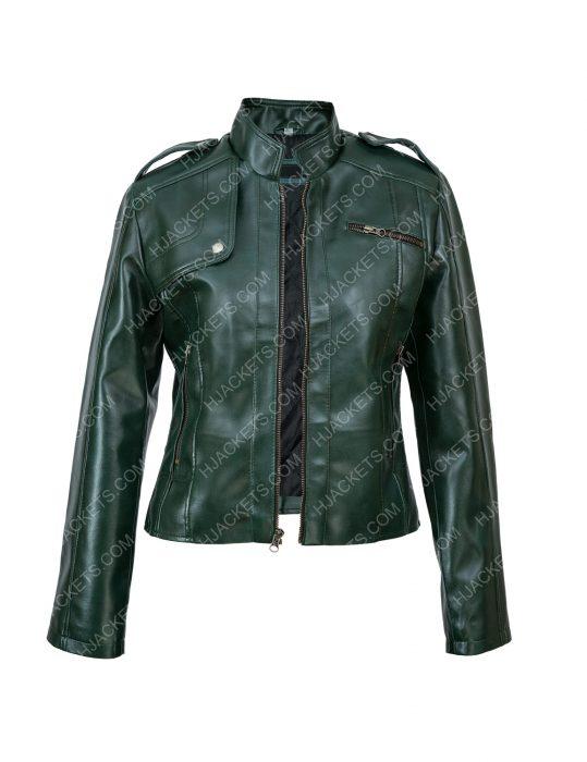 Green Moto Woman Jacket