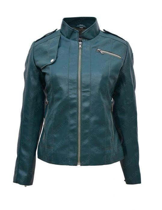 green-faux-moto-leather-jacket