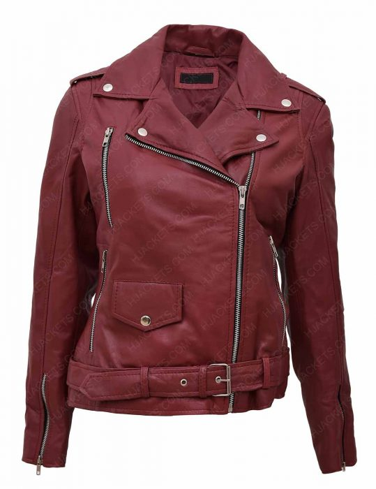 women-maroon-biker-leather-jacket