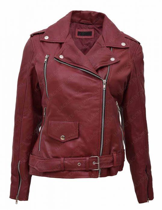 women-maroon-biker-leather-jacket