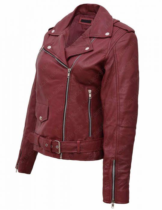women-maroon-leather-jacket