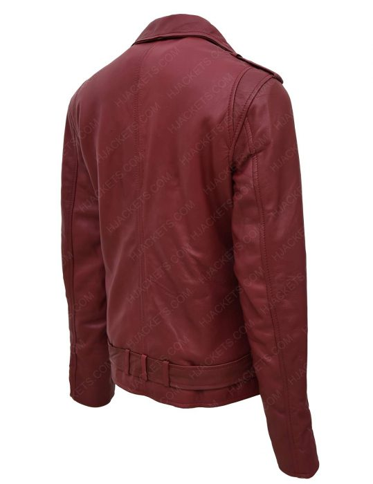 women-maroon-moto-leather-jacket