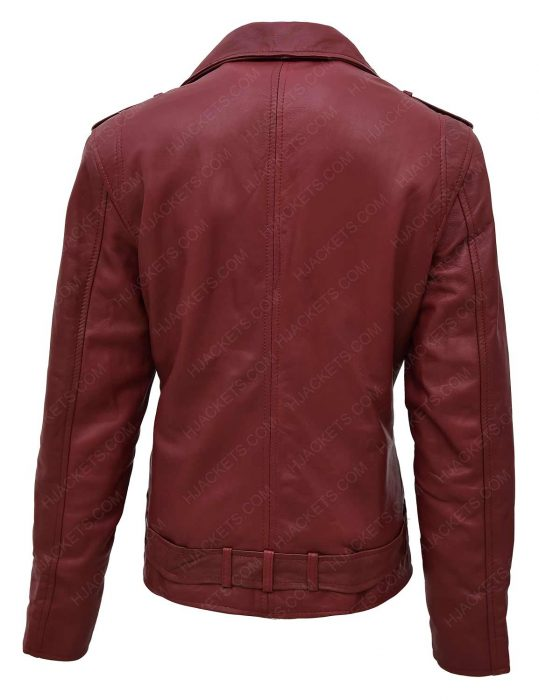 women-maroon-motorcycle-jacket