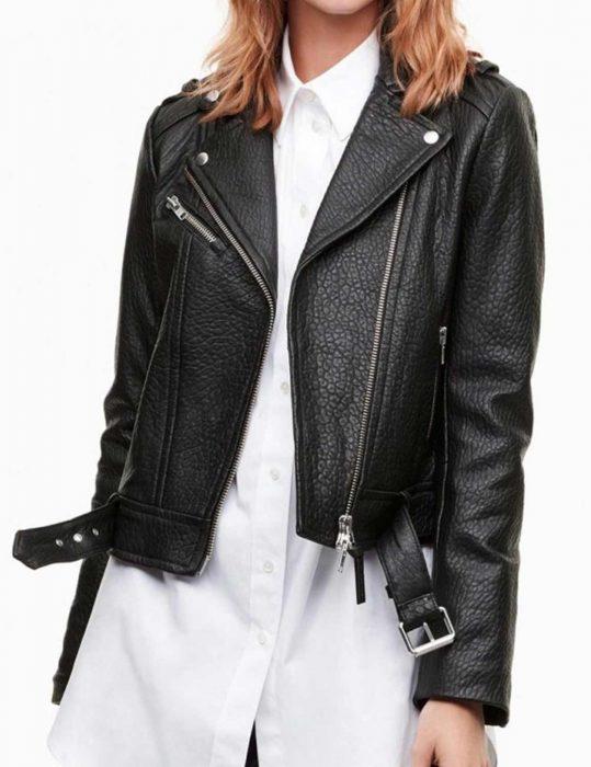iris west leather jacket