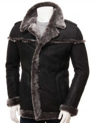 Men's Black Shearling Coat