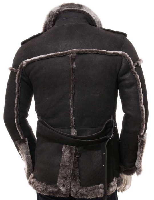 Mens Black Shearling leather Coat