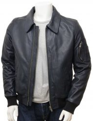 men's blue bomber jacket