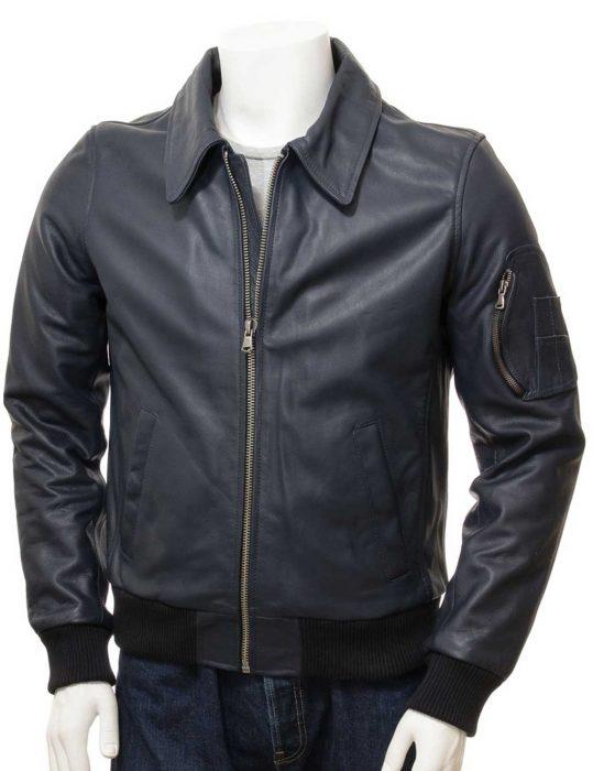 men's blue bomber leather jacket