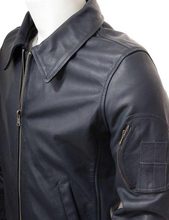 mens-blue-leather-bomber-jacket