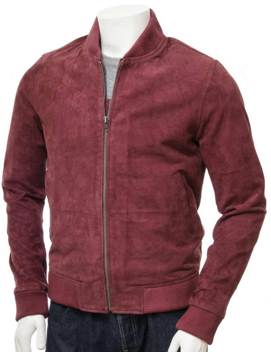 Men's Burgundy Suede Bomber Jacket