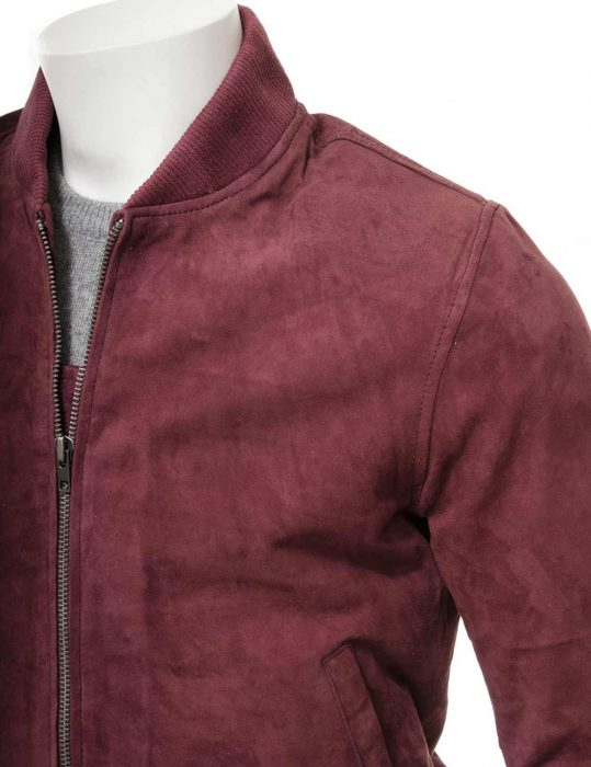 Men's Burgundy Bomber Jacket