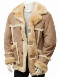mens sand sheepskin leather coat