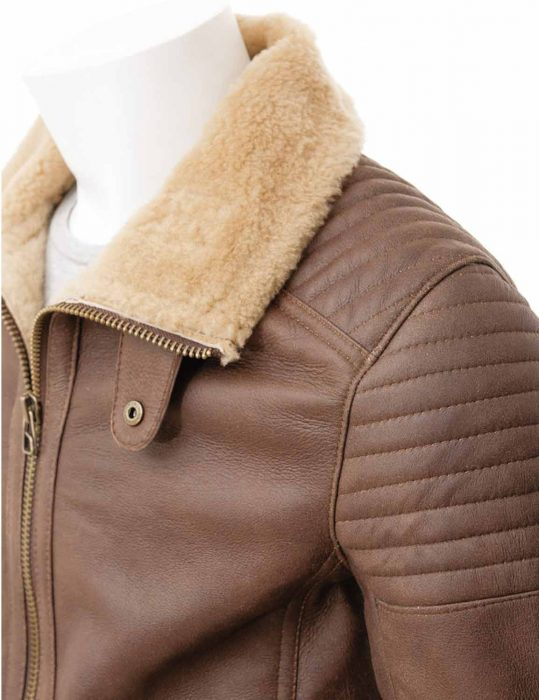 Mens Sheepskin brown leather Jacket