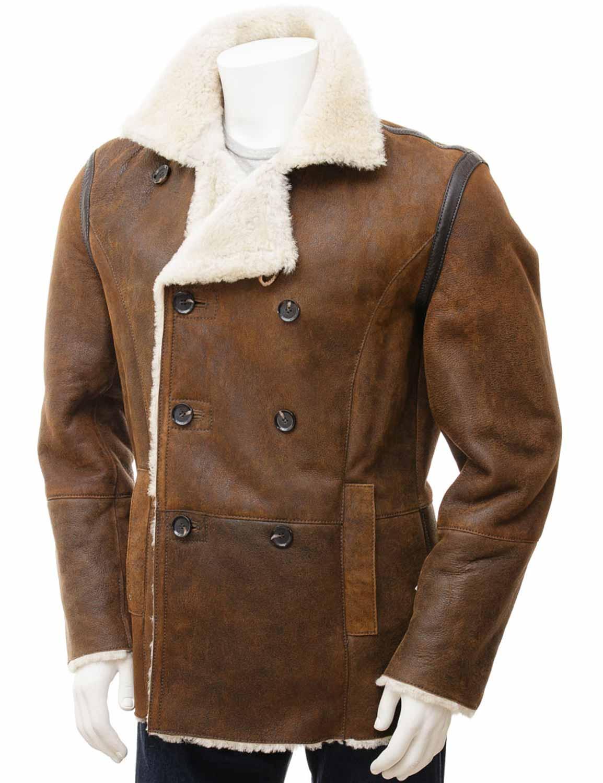 5a46dab804f79 Mens Tan Sheepskin Shearling Collar Peacoat