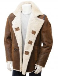 Mens Tan Sheepskin Peacoat