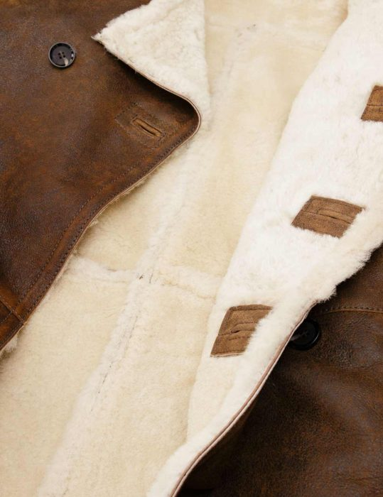 Mens Sheepskin Tan leather Peacoat