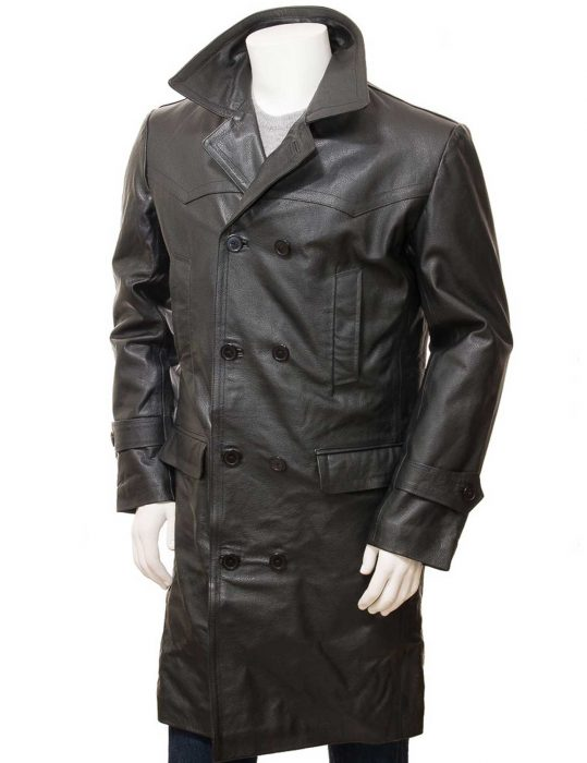 Men's Black Leather Trench Coat