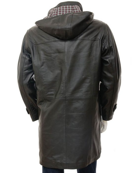 Men's Duffle black Leather Coat