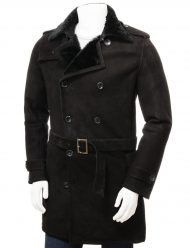 mens black shearling trench coat