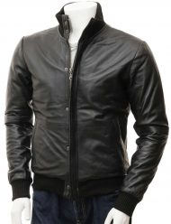 mens-black-leather-bomber-motorcycle-jacket
