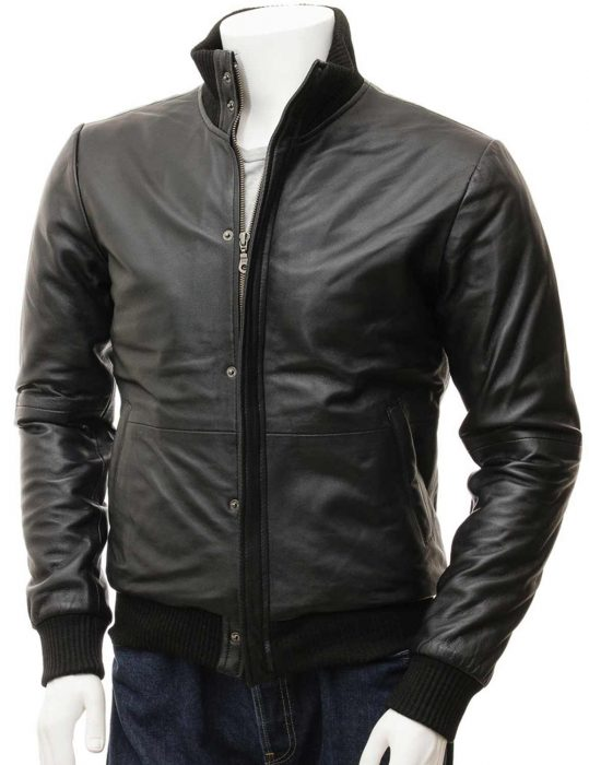 mens-black-leather-bomber-motorcycle-jacket