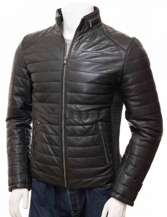 mens-black-leather-quilted-biker-jacket