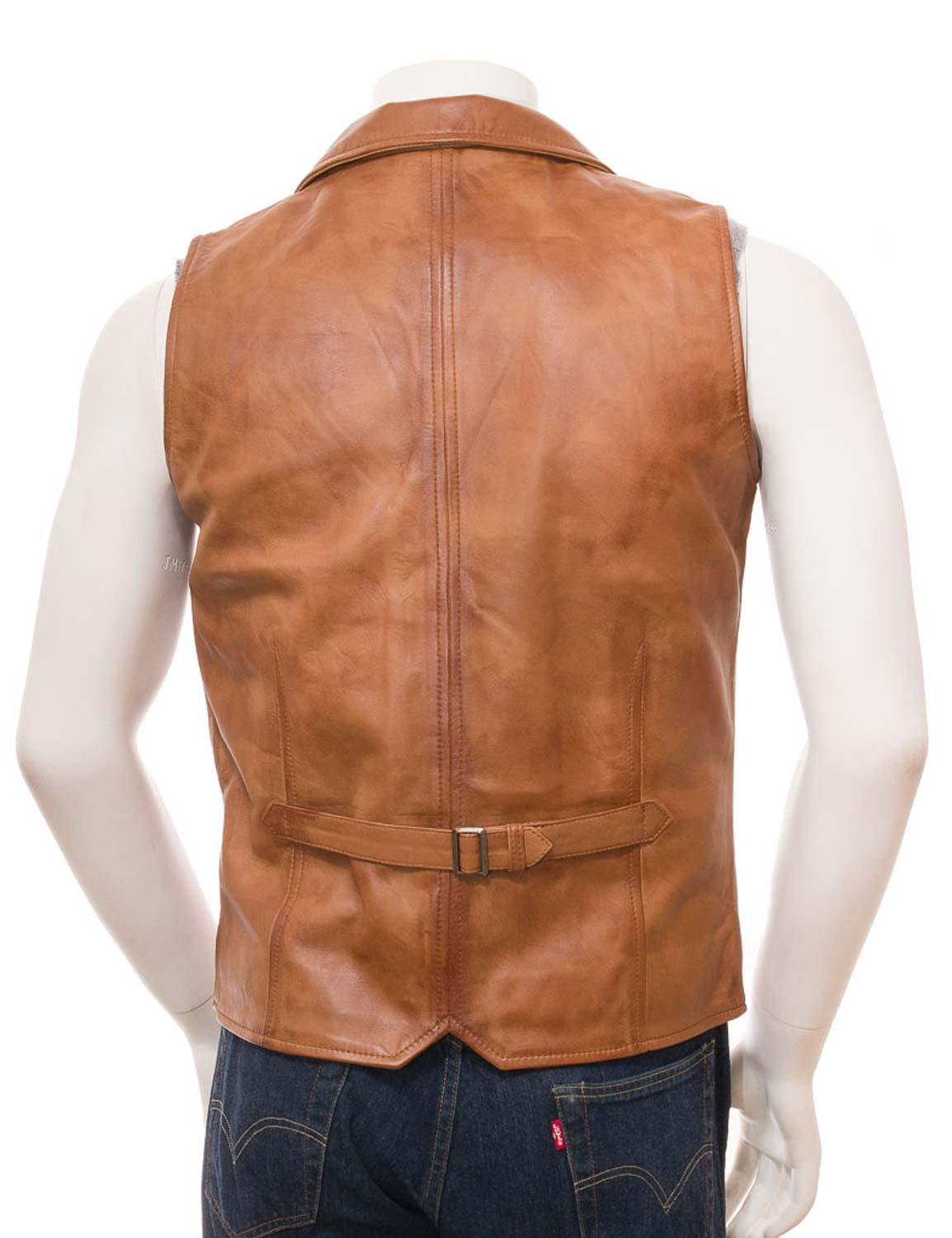 Tan Leather Brown Vest For Men Available At Hjackets