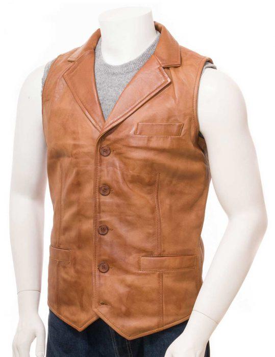 mens-tan-leather-vest