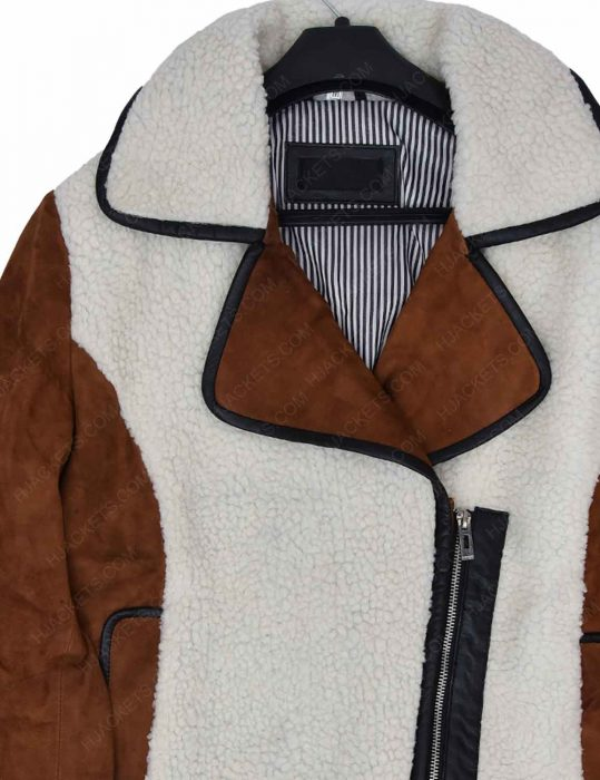 suede-and-shearling-half-zip-biker-leather-jacket