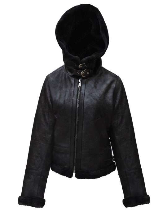 black-shearling-leather-hooded-jacket