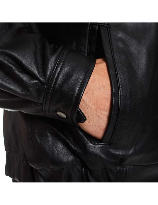 mens-tall-bomber-full-zip-front-black-leather-jacket